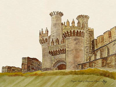 Knights Castle Painting - Ponferrada Templar Castle  by Angeles M Pomata