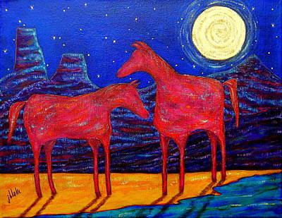 Painting - Ponies At The Playa by John Blake