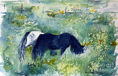 Painting - Ponies In The Meadow Watercolor by CheyAnne Sexton