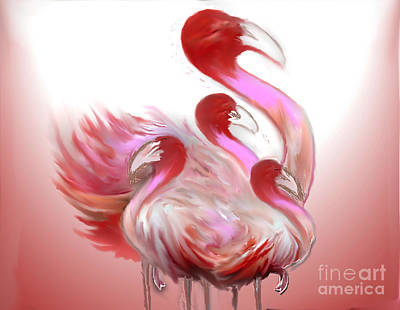 Painting - Ponk Flamingos by Belinda Threeths