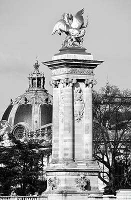 Photograph - Pont Alexandre IIi Bridge Column And Dome Of Petit Palais Paris France Black And White by Shawn O'Brien