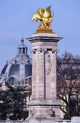 Photograph - Pont Alexandre IIi Bridge Column And Dome Of Petit Palais Paris France by Shawn O'Brien