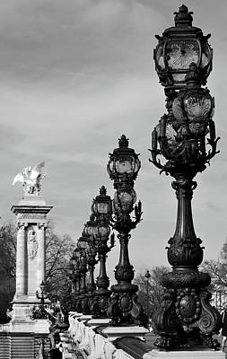 Photograph - Pont Alexandre IIi Bridge Lamp Posts And Gilded Column Pegasus Paris France Black And White by Shawn O'Brien