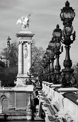 Photograph - Pont Alexandre IIi Bridge Vintage Light Posts And Gilded Column Paris France Black And White by Shawn O'Brien