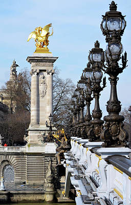 Photograph - Pont Alexandre IIi Bridge Vintage Light Posts And Gilded Column Paris France by Shawn O'Brien