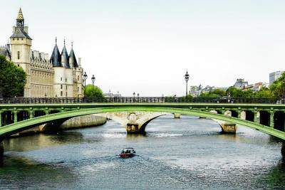 Pont Au Change Over The Seine River In Paris Art Print