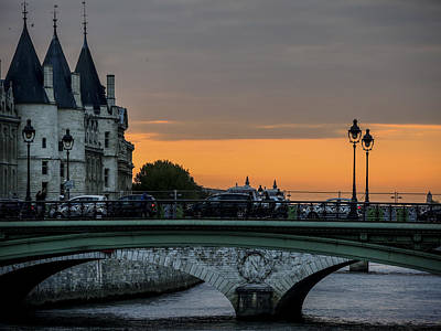 Photograph - Pont Au Change Paris Sunset by Sally Ross