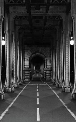 Photograph - Pont De Bir Hakeim Night Bike Path Vanishing Point Perspective Inception Movie Bridge Black And Whit by Shawn O'Brien