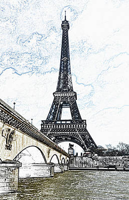 Digital Art - Pont D'lena Bridge Leading To The Eiffel Tower Paris France Colored Pencil Digital Art by Shawn O'Brien