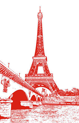 Digital Art - Pont D'lena Bridge Leading To The Eiffel Tower Paris France Red Stamp Digital Art by Shawn O'Brien