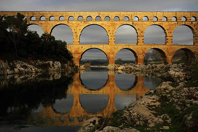 Water Reflections Photograph - Pont Du Gard by Boccalupo Photography