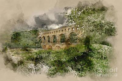 Aqueduct Digital Art - Pont Du Gard France by Ann Garrett