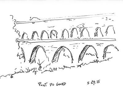 World Heritage Site Drawing - Pont Du Gard by Robert R Lowe III