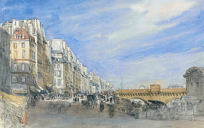 Painting - Pont Neuf From The Quai De L'ecole, Paris by David Cox