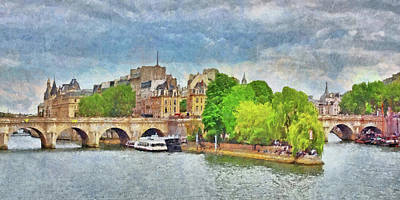 Digital Art - Pont Neuf In Paris by Digital Photographic Arts