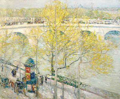 Horse And Carriage Painting - Pont Royal Paris by Childe Hassam