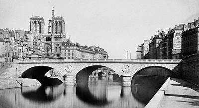 Photograph - Pont Saint Michel Paris 1859 by Andrew Fare