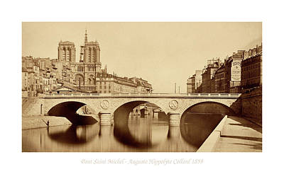 Photograph - Pont Saint Michel Paris 1859 Sepia2 by Andrew Fare