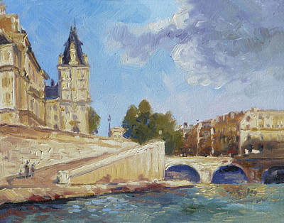 Seine Painting - Pont Saint Michel, Paris by Irek Szelag
