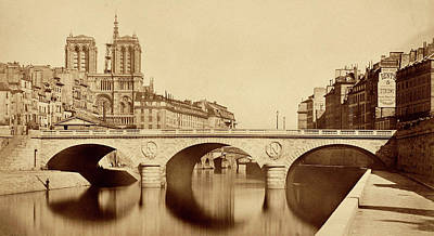 Photograph - Pont Saint Michel Sepia 1859 by Andrew Fare