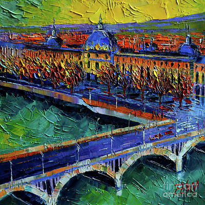Painting - Pont Wilson And Hotel Dieu De Lyon By Mona Edulesco by Mona Edulesco