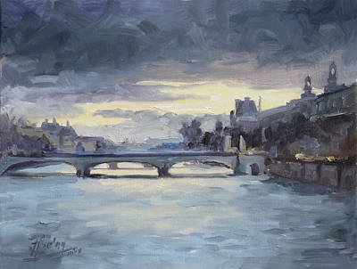 Sunset Painting - Pont Du Carrousel, Paris by Irek Szelag