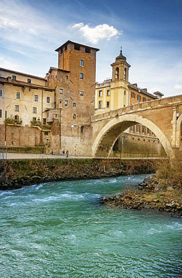 Tiber Island Wall Art - Photograph - Ponte Fabricio And Tiber Island Rome Italy by Joan Carroll