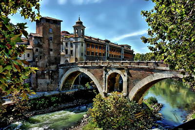 Photograph - Ponte Fabricio Bridge by Anthony Dezenzio