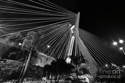 Studio Grafika Zodiac - Ponte Octavio Frias de Oliveira at night - Sao Paulo, Brazil by Carlos Alkmin