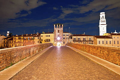 Photograph - Ponte Pietra Bridge And Verona Waterfront Architecture Evening V by Brch Photography