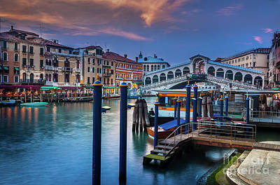Ponte Rialto Evening Art Print