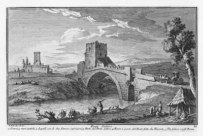 Drawing - Ponte Salaro by Giuseppe Vasi