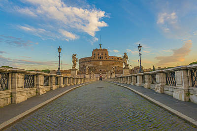 Castel Santangelo Wall Art - Photograph - Ponte Sant Angelo Over The Tiber  Rome by Mats Silvan