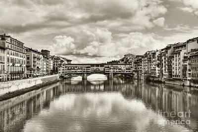 Photograph - Ponte Vecchio At Florence Italy #2 Sepia Tone by Mel Steinhauer