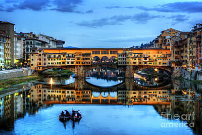 Photograph - Ponte Vecchio Bridge In Florence, Italy. Arno River At Night by Michal Bednarek