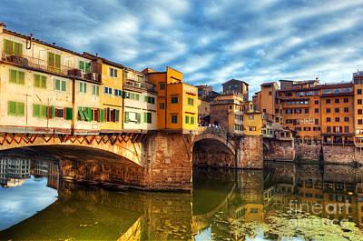 Photograph - Ponte Vecchio Bridge In Florence, Italy. Arno River by Michal Bednarek