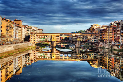 Photograph - Ponte Vecchio Bridge In Florence, Italy. Arno River Under Dark, Stormy Clouds by Michal Bednarek