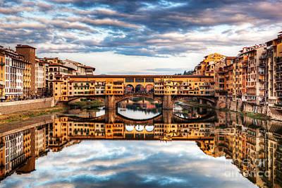 Photograph - Ponte Vecchio Bridge In Florence, Italy. Arno River Under Romantic Sky by Michal Bednarek