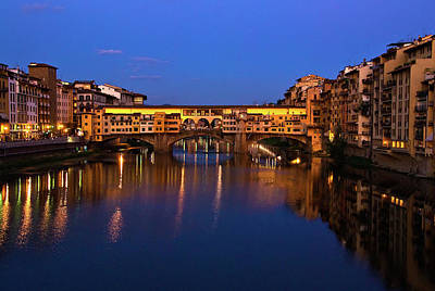 Art Print featuring the photograph Ponte Vecchio Dusk  by Harry Spitz