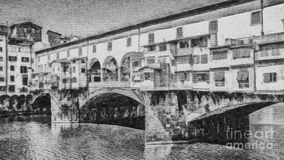 River View Drawing - Ponte Vecchio by Edward Fielding