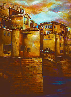 Wall Art - Painting - Ponte Vecchio, Firenze by Gaye Elise Beda