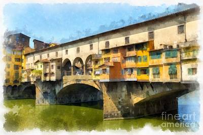 Tourist Attraction Digital Art - Ponte Vecchio Florence Italy by Edward Fielding