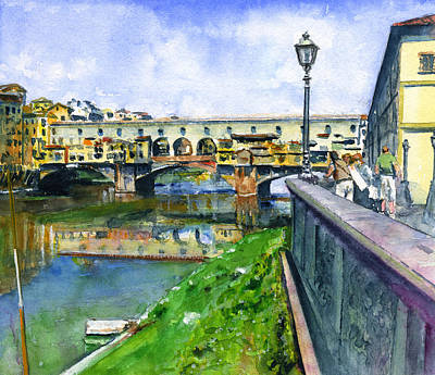 Painting - Ponte Vecchio Florence Italy by John D Benson