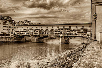 Photograph - Ponte Vecchio Florence Italy Monotone 7k_dsc2439_09152017 by Greg Kluempers