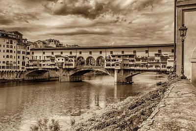 Photograph - Ponte Vecchio Florence Italy Monotone 7k_dsc2439_09152017 by Greg Kluempers
