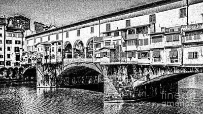Europe Digital Art - Ponte Vecchio Florence Sketch by Edward Fielding