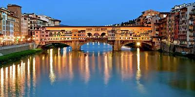 Photograph - Ponte Vecchio Lights by Frozen in Time Fine Art Photography