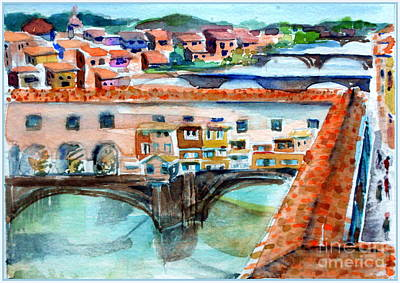 Michelangelo Art Drawing - Ponte Vecchio by Mindy Newman