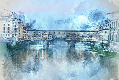 Photograph - Ponte Vecchio On The River Arno In Florence, Italy by Brandon Bourdages