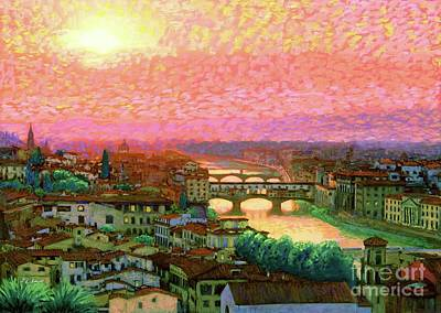 Best Sellers - Landmarks Painting Royalty Free Images - Ponte Vecchio Sunset Florence Royalty-Free Image by Jane Small